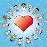 Kinderen arround een hart   Stock Foto