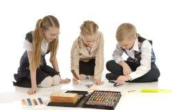 Kinderen belast met tekening 6 Stock Fotografie