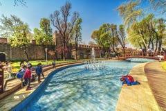 Kinderen bij de pool in Gulhane-Park tijdens het jaarlijkse April-tulpenfestival royalty-vrije stock foto