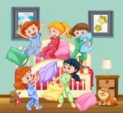 Kinderen bij de sluimerpartij Royalty-vrije Stock Afbeelding