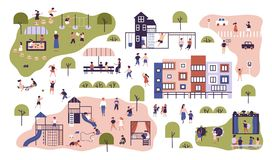 Kinderen bij moderne kleuterschool Peuterklassen die openluchtactiviteiten hebben Jonge geitjes die spelen spelen, die pret hebbe stock illustratie