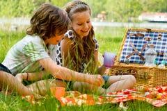 Kinderen bij Picknick Royalty-vrije Stock Afbeeldingen