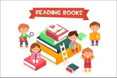 Kinderen boeken lezen, jongens en meisjes die het concepten van vectorillustratie genieten van het literatuuronderwijs stock illustratie