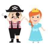 Kinderen in Carnaval-kostuumspiraat en van PrinsesVector cartoo stock illustratie