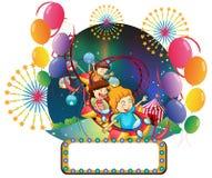 Kinderen in Carnaval met een lege ruimte voor advertentie royalty-vrije illustratie