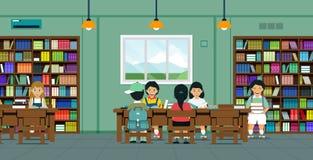 Kinderen in de bibliotheek stock illustratie