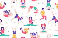 Kinderen die activiteiten en sporten in vlakke ontwerp vectorillustratie doen Jonge geitjes in het geïsoleerde park naadloze patr royalty-vrije illustratie