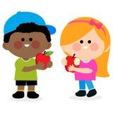 Kinderen die appelen eten royalty-vrije illustratie