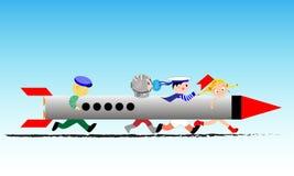 Kinderen die astronauten met een stuk speelgoed raket spelen vector illustratie