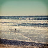 Kinderen die bij strand spelen Stock Afbeeldingen