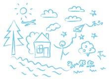 Kinderen die blauwe symbolen vectorreeks trekken Stock Foto's