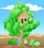 Kinderen die boomhuis spelen Stock Afbeelding