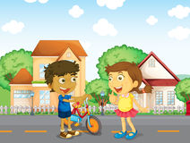 Kinderen die buiten spreken stock illustratie