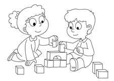 Kinderen die - bw spelen Stock Afbeelding