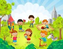 Kinderen die in de parkvector spelen Stock Foto's