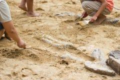Kinderen die de simulatie van dinosaurusfossielen leren Stock Foto