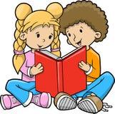 Kinderen die de Vector van het Boek lezen Royalty-vrije Stock Afbeelding