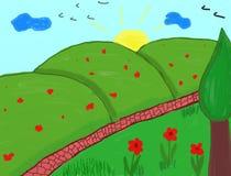 Kinderen die - de zomerlandschap schilderen Stock Afbeeldingen