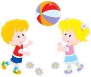 Kinderen die een bal spelen royalty-vrije illustratie