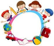 Kinderen die een leeg cirkelkader surroding Royalty-vrije Stock Afbeeldingen