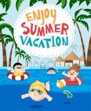 Kinderen die in een toevlucht voor de zomervakantie zwemmen stock illustratie