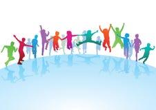Kinderen die en op blauwe orb lopen springen royalty-vrije illustratie
