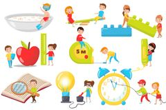 Kinderen die, en reeks, peuteractiviteiten en het vroege beeldverhaal van het kinderjarenonderwijs experimenteren lezen spelen me stock illustratie