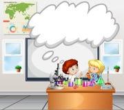 Kinderen die experiment in het klaslokaal doen stock illustratie