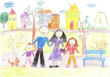 Kinderen die familie trekken Royalty-vrije Stock Afbeelding