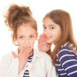 Kinderen die geheimen fluisteren stock afbeeldingen