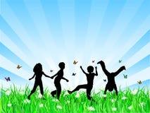 Kinderen die in gras spelen stock illustratie