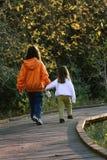 Kinderen die hand in hand lopen Royalty-vrije Stock Afbeeldingen