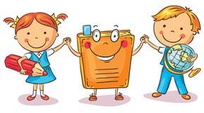 Kinderen die handen met een boek houden als symbool van het leren, kennis, onderwijs royalty-vrije illustratie