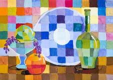 Kinderen die het Decoratieve stilleven van ` van fruit en voorwerpen ` trekken Royalty-vrije Stock Foto
