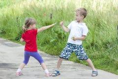Kinderen die het vechten op zonnige de zomerdag spelen Stock Fotografie