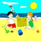 Kinderen die in het zand spelen royalty-vrije illustratie