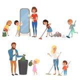 Kinderen die hun ouders met huishoudelijk werk helpen Het vegen, het zuigen, wassende vloer, weggooiend huisvuil, die spiegel sch stock illustratie