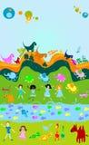 Kinderen die, jonge geitjeswereld spelen stock illustratie