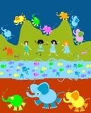 Kinderen die, jonge geitjeswereld spelen royalty-vrije illustratie