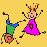 Kinderen die jongen met meisje spelen royalty-vrije illustratie