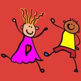 Kinderen die jongen met meisje spelen stock illustratie
