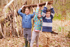 Kinderen die Kamp in Forest Together bouwen royalty-vrije stock foto