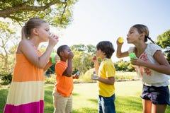 Kinderen die met bellentoverstokje spelen Royalty-vrije Stock Foto