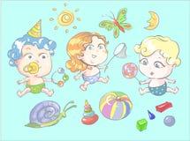 Kinderen die met de vectorillustratie van de speelgoedvlinder spelen vector illustratie