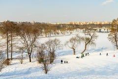 Kinderen die met Sneeuw na Sneeuwval op de Winterdag spelen in Tineretului-Park van Boekarest Stock Foto's