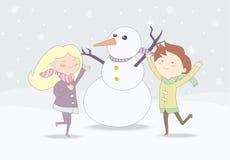 Kinderen die met sneeuwman tijdens sneeuwval spelen vector illustratie