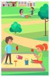 Kinderen die met Speelgoed in Zandbak in Park spelen vector illustratie