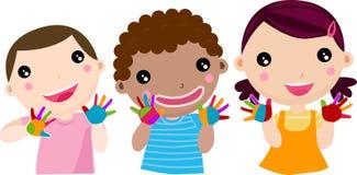 Kinderen die met verven spelen Stock Foto