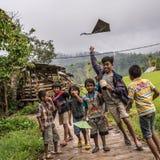 Kinderen die met vlieger spelen royalty-vrije stock foto