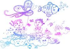 Kinderen die met vliegers spelen Royalty-vrije Stock Afbeelding